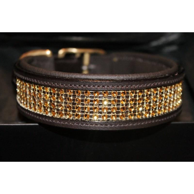 collier pour chien en cuir et diamant or collier de luxe pour chien. Black Bedroom Furniture Sets. Home Design Ideas
