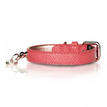 COLLIER POUR CHIEN CUIR SIMILI - NAJA PINK ROSE